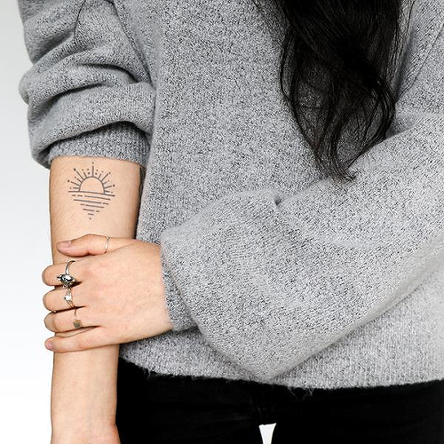 Horyzontu by Talia Missaghi is a Geometric temporary tattoo from inkbox - 0