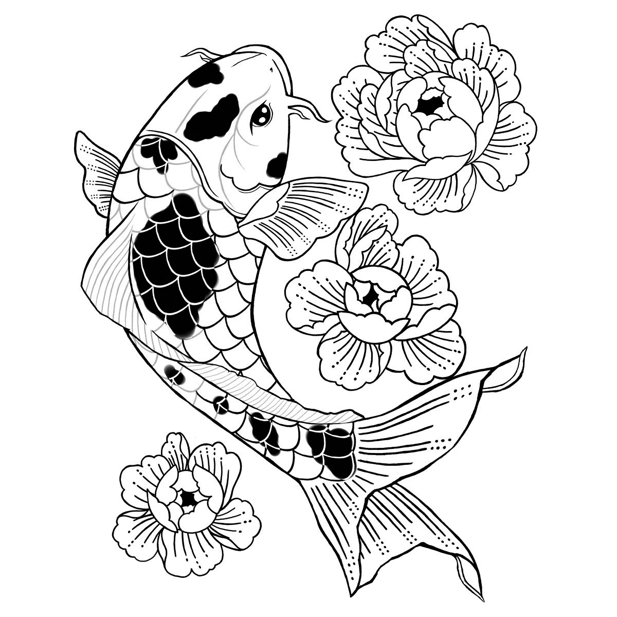 Floral Koi by Cecilia Gomez  is a Animals temporary tattoo from inkbox - stencil