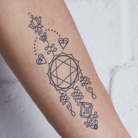 Chakra Totem 4 by Aleksandra Slowik is a Geometric temporary tattoo from inkbox - compliment